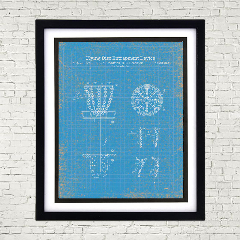 Framed 8 x 10 Disc Golf Patent Poster