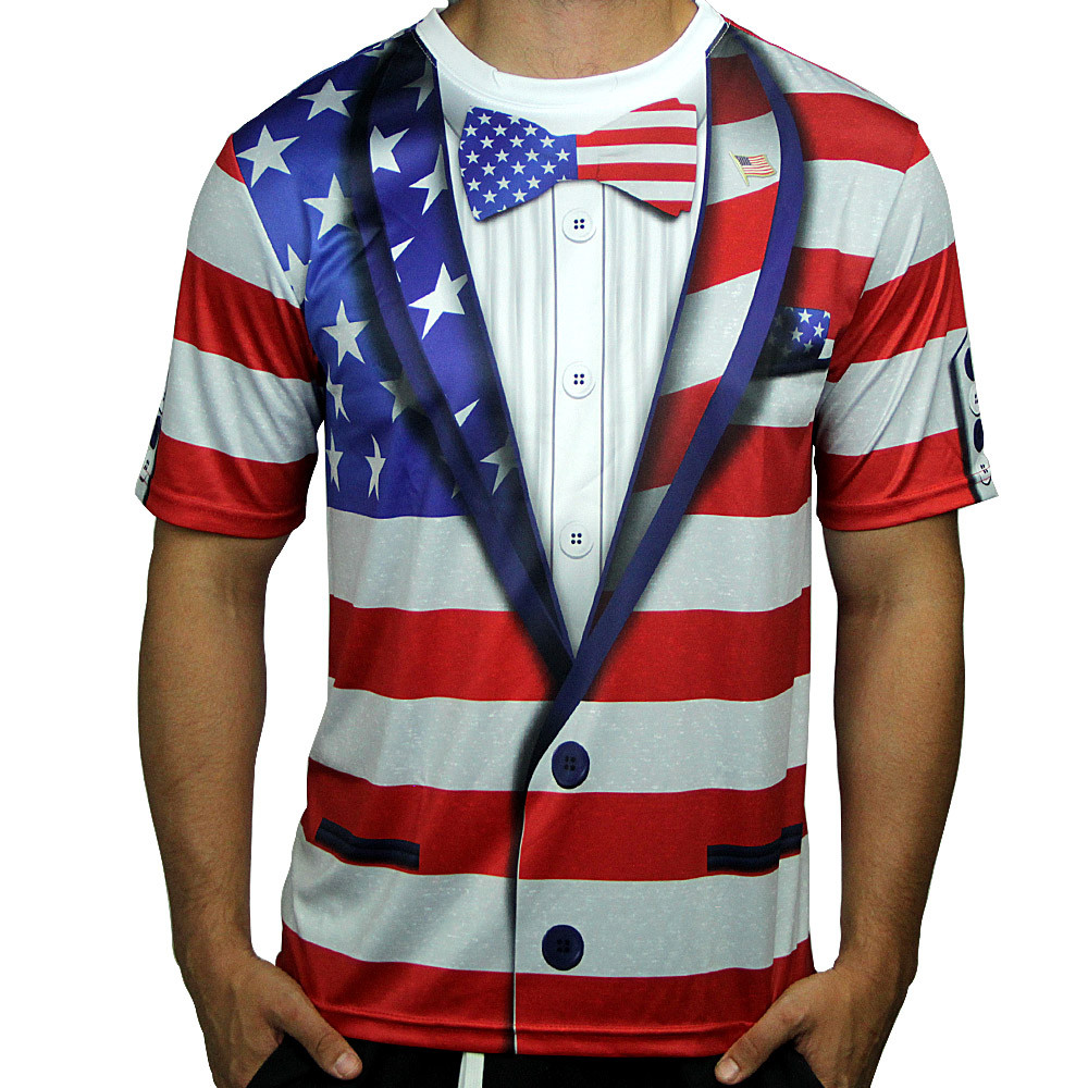 American Flag Full Sub Tuxedo Short Sleeve Jersey