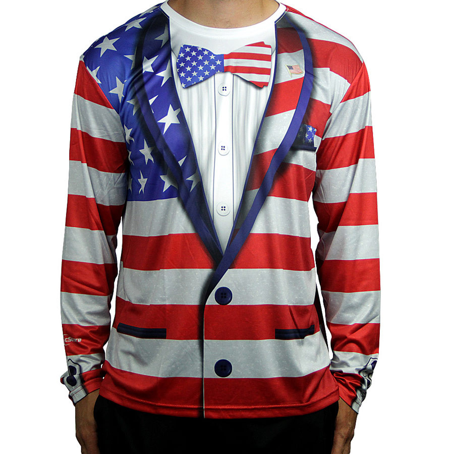 American Flag Full Sub Tuxedo Long Sleeve Jersey