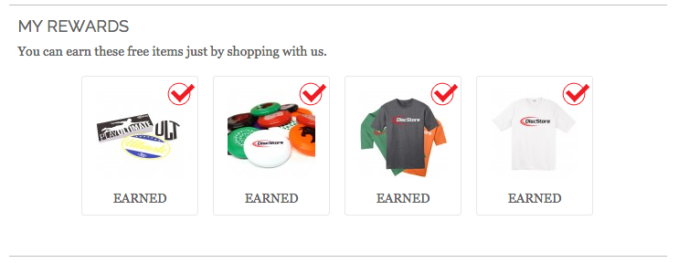 Freebie items can be earned by reaching certain tiers in your cart.